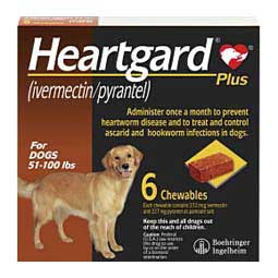 6 ct (51-100 lbs) Heartgard Plus Chewables for Dogs