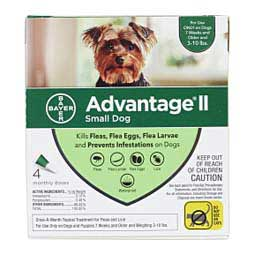 4 pk (3-10 lbs) Green Advantage II for Dogs
