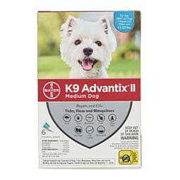 6 pk (dogs 11-20 lbs) Teal K9 Advantix II