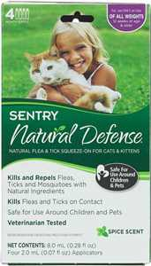 4 pk (all weights) Natural Defense Natural Flea & Tick Squeeze-on for Cats