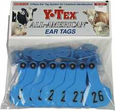 Y-Tex Ear Tags - Small Numbered Cattle ID Tags