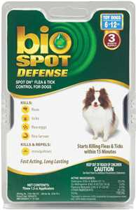 Bio Spot Defense Spot On Flea and Tick Control for Dogs