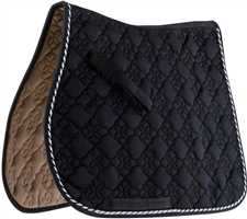 Black/Silver Roma Ecole Flower Diamond All Purpose Saddle Pad