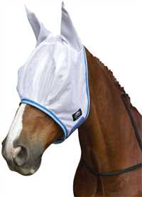 White/Royal Insect Shield Fly Mask with Ears