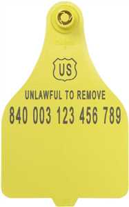 Yellow 840 USDA - XL Panel Blank ID Tags with Buttons