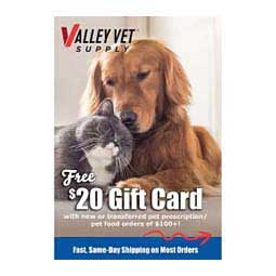 Get a $20 Gift Card with new or transferred Pet Rx Food order of $100+ Valley Vet Supply