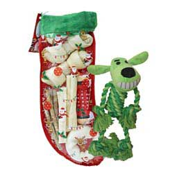 Jingle Bones Rawhide Christmas Stocking + Loofa Rope Body Dog Toy Item # 47643