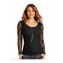 Ladies Long Sleeve Knit Lace Top-Panhandle Pandhandle Slim