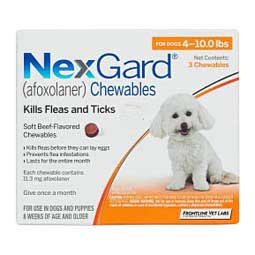 NexGard Chewables for Dogs 11.3 mg, 3 ct (4-10 lbs) - Item # 1188RX