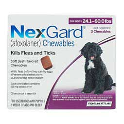 NexGard Flea and Tick for Dogs 24-60 lbs 68 mg 3 ct - Item # 1190RX