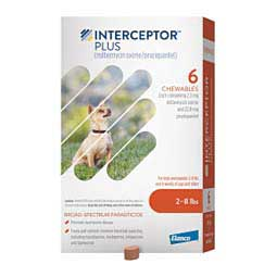 Interceptor Plus Heartworm Prevention Chewables for Dogs 6 ct (2-8 lbs) - Item # 1317RX