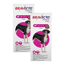Bravecto Flea & Tick Treatment for Dogs 88-123 lbs 1,400 mg 2 ct - Item # 1394RX