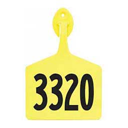 Yellow Feedlot Ear Tags - Numbered Cattle ID Tags