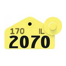 Yellow Allflex Tamperproof Hog Ear Tags - Hog Numbered ID Tags
