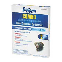 D-Worm Combo (pyrantel pamoate/praziquantel) Broad Spectrum Chewable De-Wormer Tablets 2 ct (medium & large dogs 25 lbs plus) - Item # 14820