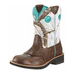 "Womens Fatbaby Round Toe 8"" Cowgirl Boots Brown Crinkle - Item # 15427"