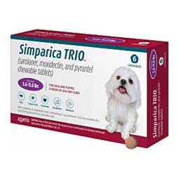 Simparica TRIO for Dogs 5.6-11 lbs (6 ct) - Item # 1548RX