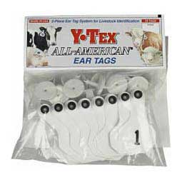 White Y-Tex Ear Tags - Small Numbered Cattle ID Tags