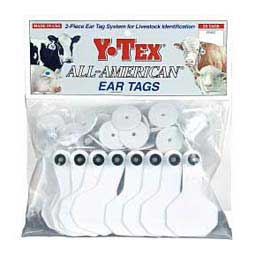 White Y-Tex Ear Tags - Small Blank Cattle ID Tags