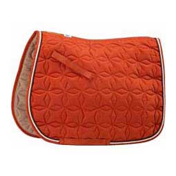 Burnt Orange/Brown/Cream Ecole Star Quilted Close Contact English Saddle Pad