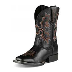 Kids Tombstone Cowgirl Boots Black Deertan - Item # 26351
