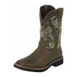 "Mens Waterproof Stampede Square Toe 11"" Cowboy Work Boots Real Tree - Item # 28471"