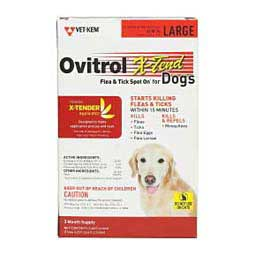3 pk (56-80 lbs) Ovitrol X-Tend Flea and Tick Spot On for Dogs