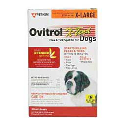 3 pk (81 lbs +) Ovitrol X-Tend Flea and Tick Spot On for Dogs