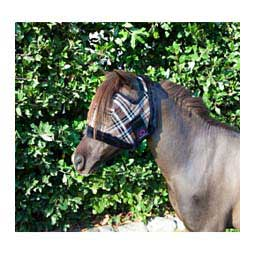 Fleece Trimmed Mini Fly Mask Without Ears Black Plaid - Item # 31490