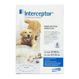 Interceptor Heartworm Prevention Flavor Tabs for Dogs and Cats 6 ct (Dogs 51-100 lbs/Cats 12.1-25 lbs) - Item # 345RX