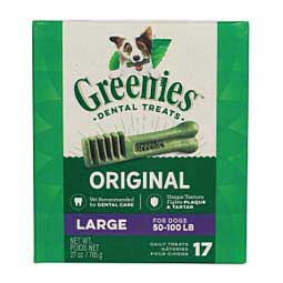 17 ct Large (50-100 lb dog) Greenies Dental Dog Treats Tub