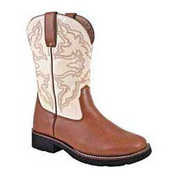 White Lady Riders Wide Square Toe Boots