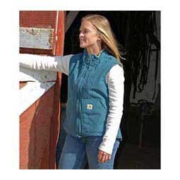 Dark Teal Sandstone Mock Neck Sherpa Lined Womens Vest