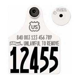840 USDA Panel Numbered Large Cattle ID Ear Tags w/ Male Buttons White - Item # 39586