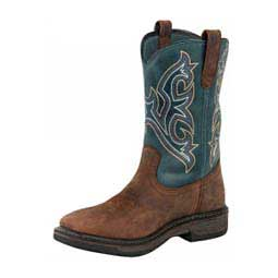 "Ranch Tough Square Toe 11"" Cowboy Boots Smoke Blue - Item # 40966"