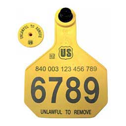 840 USDA Panel Large Numbered Cattle ID Ear Tags w/ Male Buttons Yellow - Item # 41500
