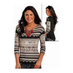 Long Sleeve Knit Lace Womens Top Black - Item # 42454
