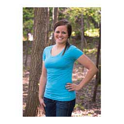 Karleigh Short Sleeve V-Neck Womens Shirt Crystal Blue - Item # 42714