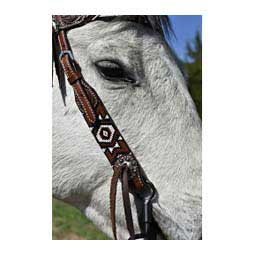 Beaded Horse Tack Set Black/Red Headstall - Item # 45565