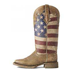 "Ranchero Stars and Stripes 12"" Cowgirl Boots Brown - Item # 46105"