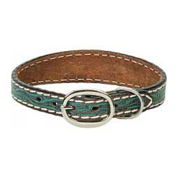 Carved Turquoise Flower Leather Dog Collar 15'' - Item # 46809