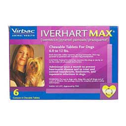 Iverhart Max Heartworm Prevention Chewable Tablets for Dogs 6 ct (6-12 lbs) - Item # 901RX